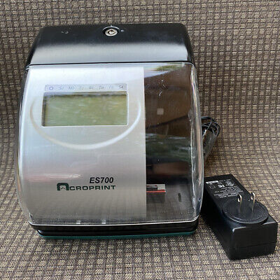 Acroprint Es700 Electronic Time Clock Recorder Date Stamp No Key