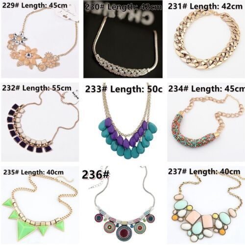 Fashion Women Jewelry Pendant Crystal Choker Chunky Statement Chain Bib Necklace
