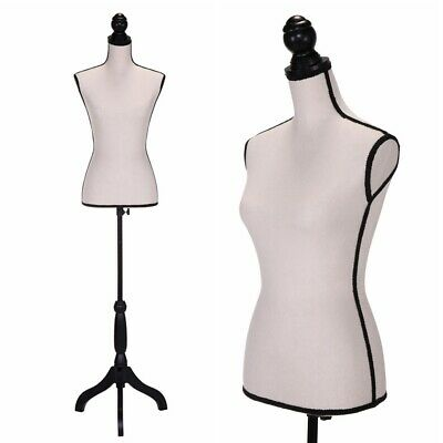 Female Mannequin Torso Dress Form Clothing Display Wblack Tripod Stand Beige
