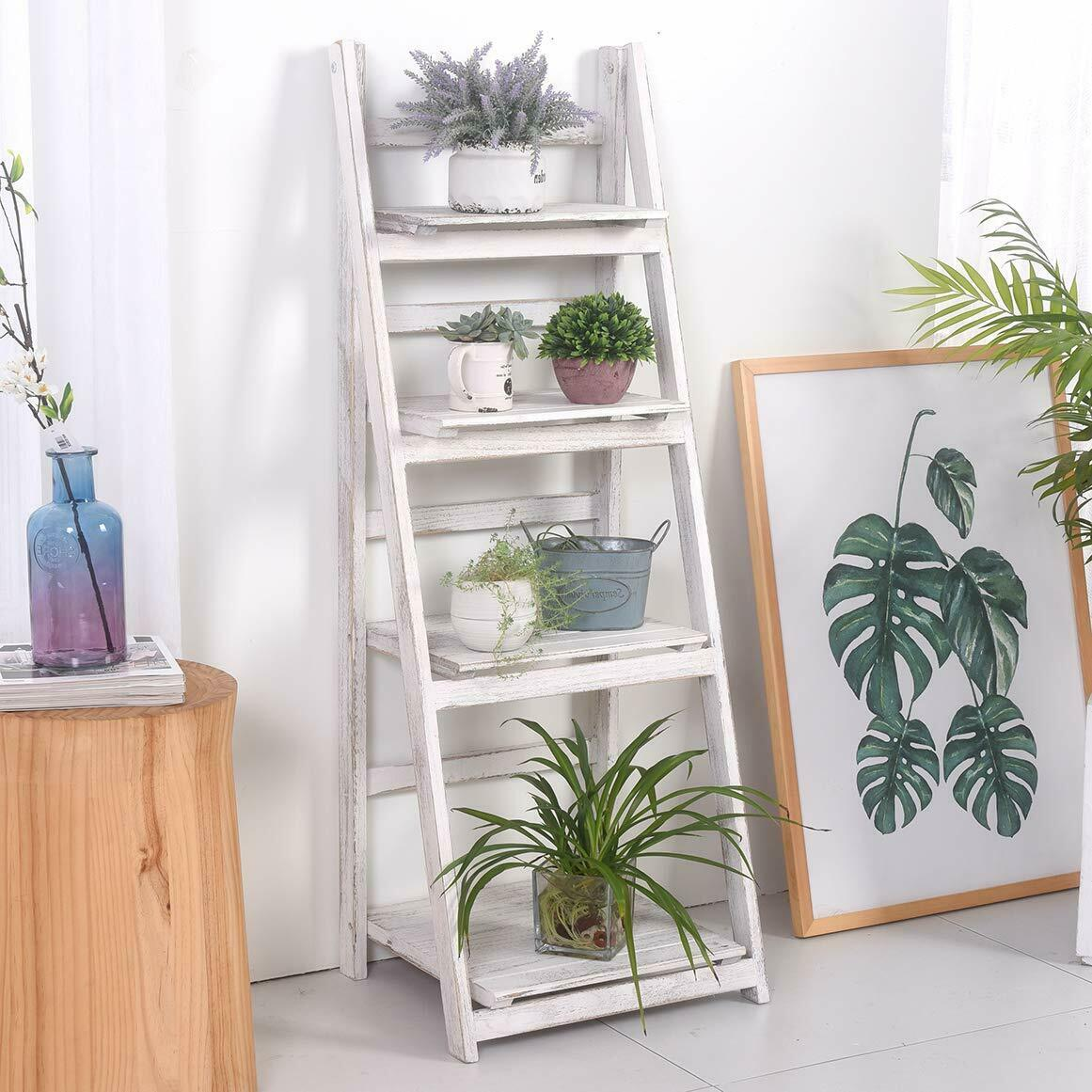 "45"" Corner Ladder Shelf Bookshelf Storage Foldable Display 4"