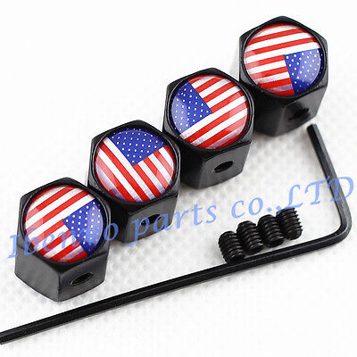 Anti Theft Black Metal Car Wheel Tire Stem Air Valve Cap For Usa Old Glory Cover