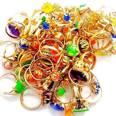 24pcs Gold Gem Rings Girl Birthday Party Favor Pinata Bag Filler Pinata Carnival