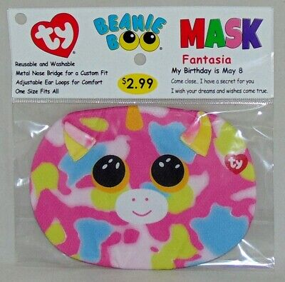New! 2020 TY Beanie Boo MASK Fantasia the Unicorn One Size Fits All 3+