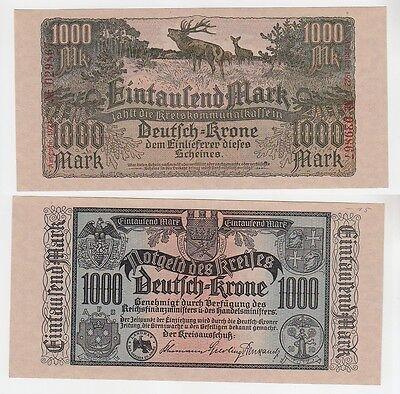 1000 Mark Banknote Deutsch Krone Wałcz Westpreussen 1922 (114241)
