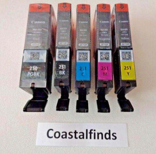 Canon Pgi 250 Cli 251 Ink Cartridge Set Of 5 Cmyk New Oem Genuine Sealed Setup