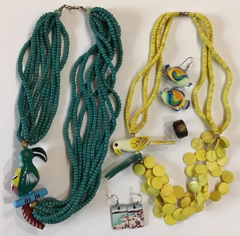 Island Get Away Jewelry Lot Colorful Hand Painted Necklaces Earrings Ring
