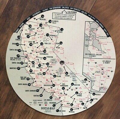 Vintage 1968 Vagabond Motor Hotel Dist-O-Map Wheel CA, NV, OR  - Ventura CA