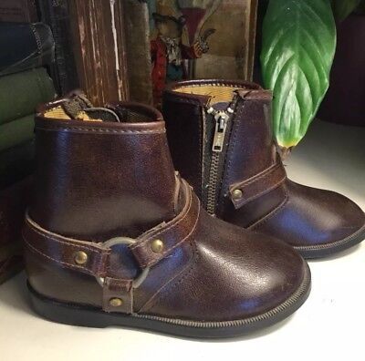 Vintage Child's Phillip Harness Leather Ankle Boots, USA, Zipper, 5 1/2~1970's