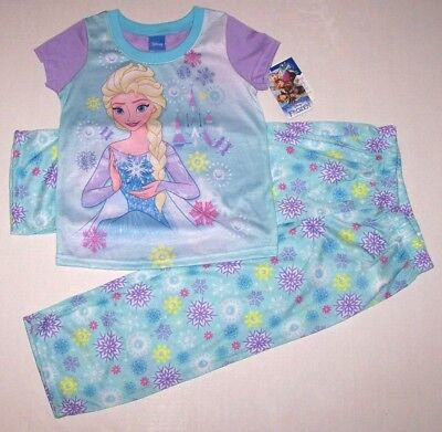 Nwt New Disney Frozen Princess Elsa 2PC Pajamas Sleepwear Snow Castle Cute Girl