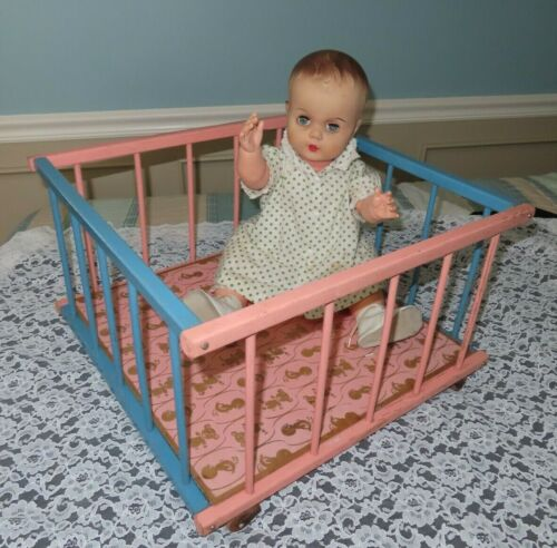 Vintage Collectible Doll Large 18 x 18  Playpen Bed  Wood Wooden