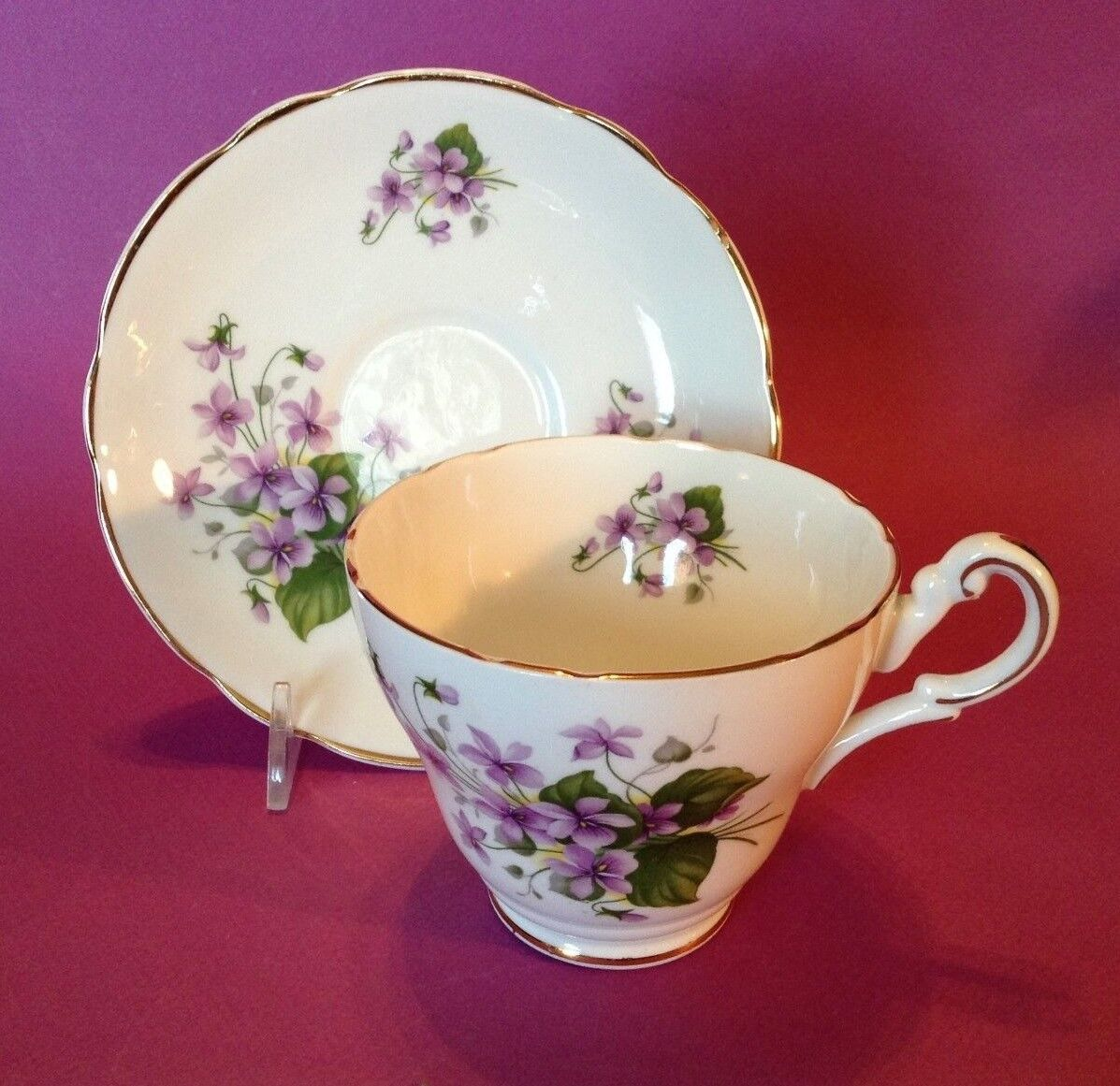 Regency TeaCup And Saucer - Scalloped Rims - White With Purple Violets England  - $22.95