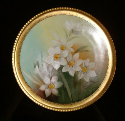 """LIMOGES HAND PAINTED PLATE SIGNED """"M.ROST LEROY"""", DONATH STUDIO, 9"""""""