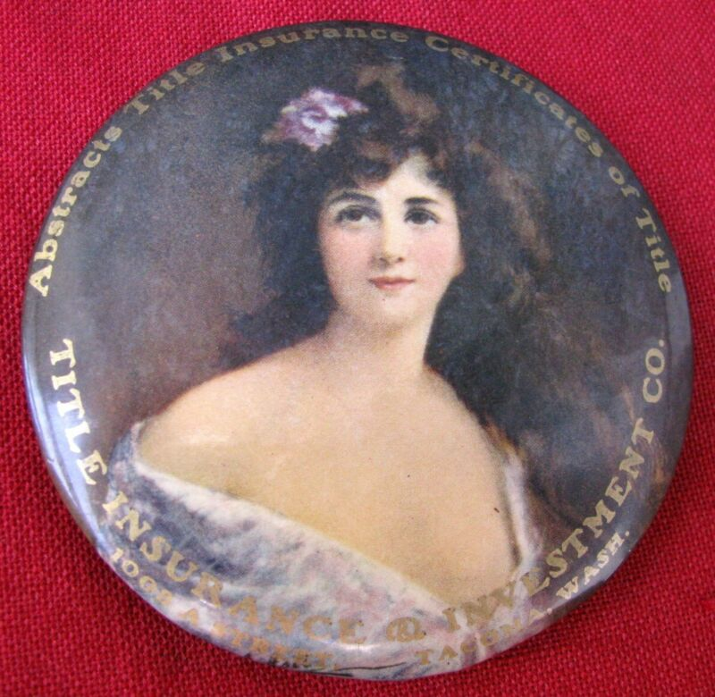 "LARGE 3 3/8"" DIAMETER c.1907 PAPERWEIGHT/ MIRROR CLASSIC VICTORIAN PRETTY LADY"