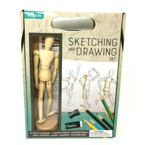 "8"" Wood Manikin Mannequin Sketching Figure with Artist Drawing Art Pencil Set"