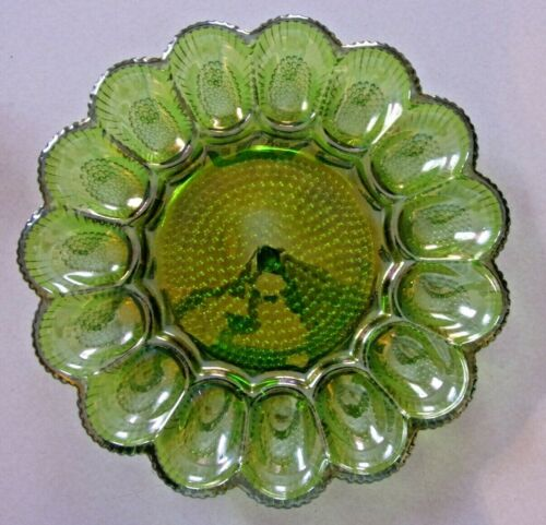 Vintage Indiana Iridescent Green Carnival Glass Deviled Egg Plate Dish EXCELLENT