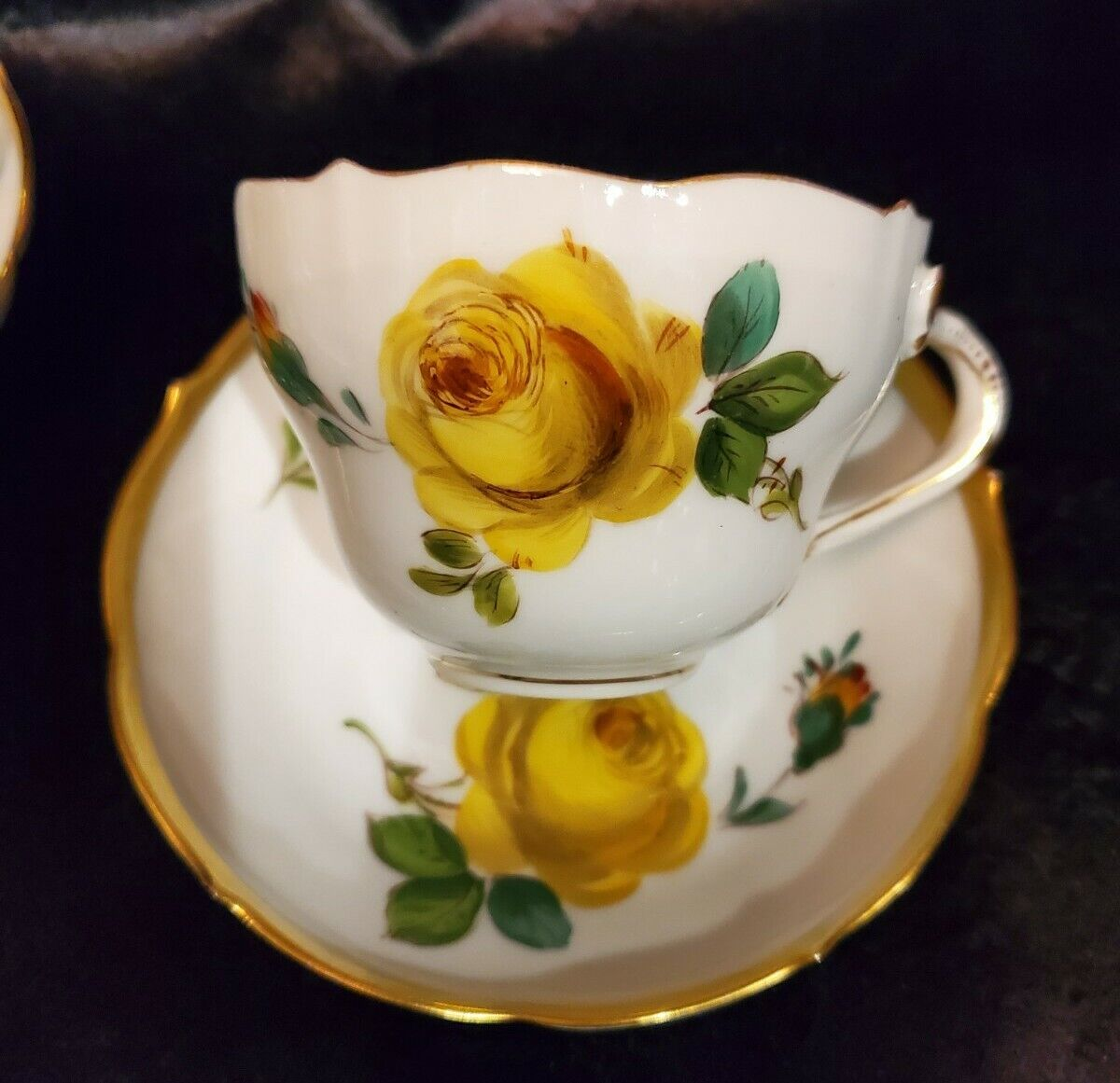 RARE Richard Klemm Dresden Yellow Cabbage Rose Cup and Saucer