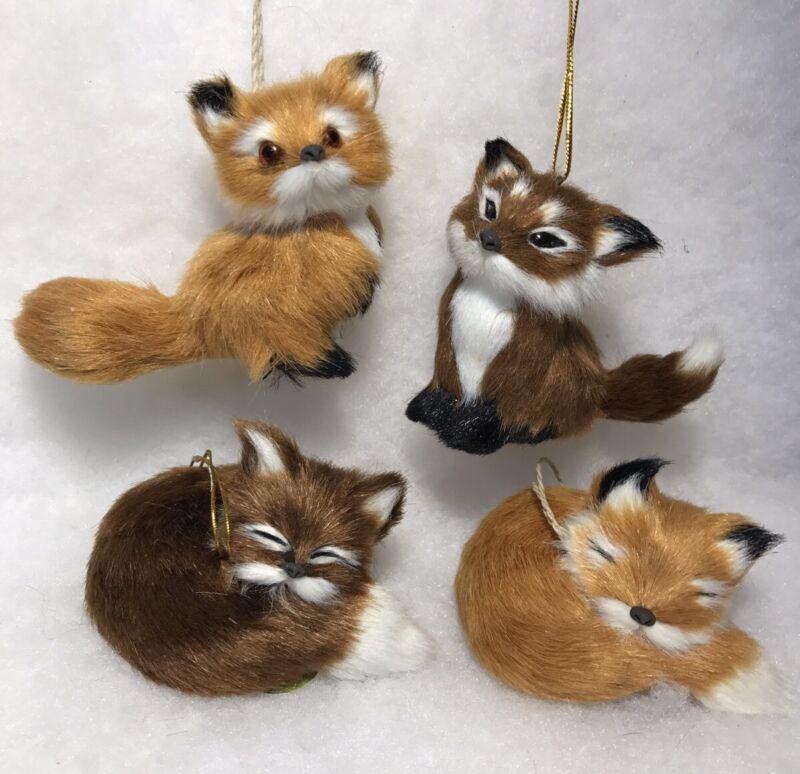 Fox Woodland Animal Christmas Tree Ornaments, Faux Fur Set of 4