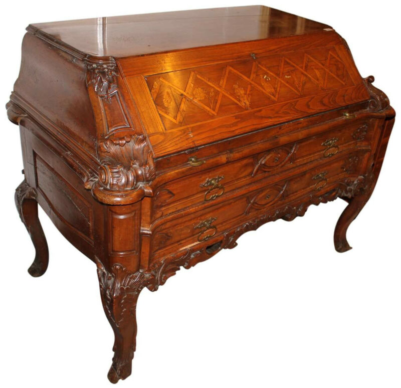 18th Century German Drop Front Desk Carved Inlaid