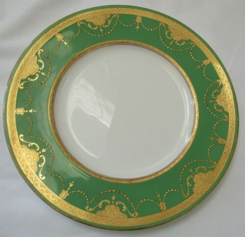 BEAUTIFUL ANTIQUE MINTON GREEN & RAISED GOLD PORCELAIN DINNER PLATE - SET OF 6