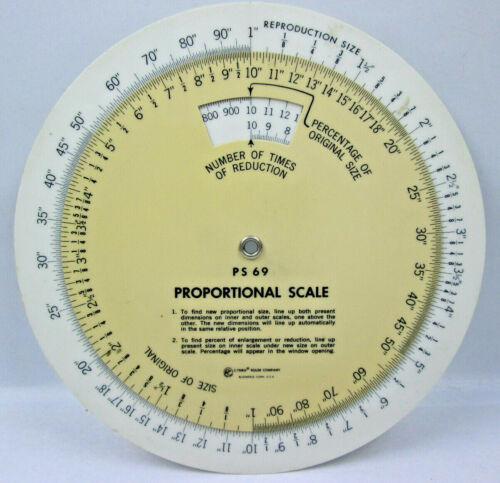 PS69 Proportional Scale by C-Thru Ruler Co. for Enlarging and Reducing Drawings
