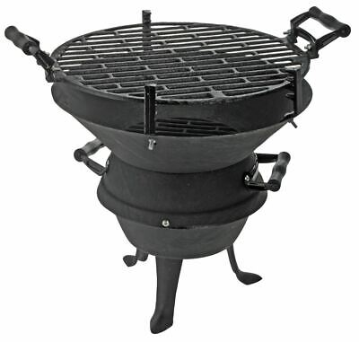 Grill aus Gusseisen 35x35cm BBQ Gartengrill Holzkohlegrill Grill Fass Kugelgrill