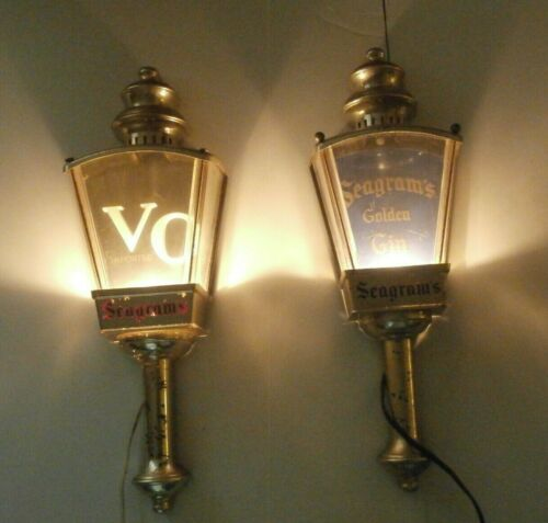 Vintage SEAGRAMS VO / GOLDEN GIN Bar Signs / Lights Mancave Alcohol Advertising