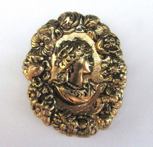 """Vintage Victorian Repousse Lady """"Cameo"""" Brooch~Pin Flowers Encircling Girl"""