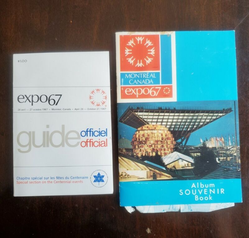 1967 Expo 67 Official Guide Book AND Souvenir Book / Album, English and French