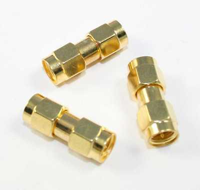 SMA M-M Gold Coated Barrel Connector - Lot of 3 (CA910B)