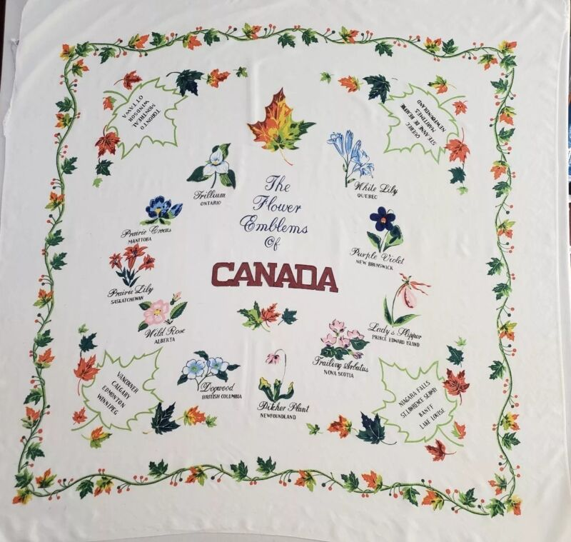 """Vintage Hand-printed Tablecloth Flower Emblems of Canada 48x48"""" Square"""