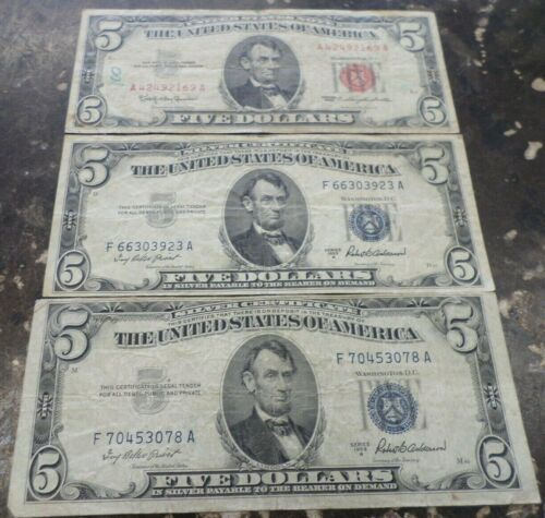 LOT OF THREE (3) UNITED STATES $5 BILLS 2-1953A SIL CERT AND 1- 1963 U.S. NOTE
