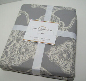 Pottery Barn Gray Ivory Alana Medallion Cotton Full Queen