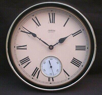 VINTAGE SUNBEAM QUARTZ WALL CLOCK ROMAN NUMERALS ANTIQUE STYLE BRASS TONE WORKS!