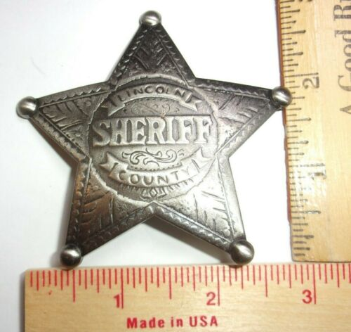 """vintage """"Sheriff Lincoln County"""" badge old West cowboy Southwestern collectible"""