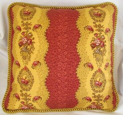 Provence French Outback Cottage Pillow Cushion Red Gold Floral Stripe English.