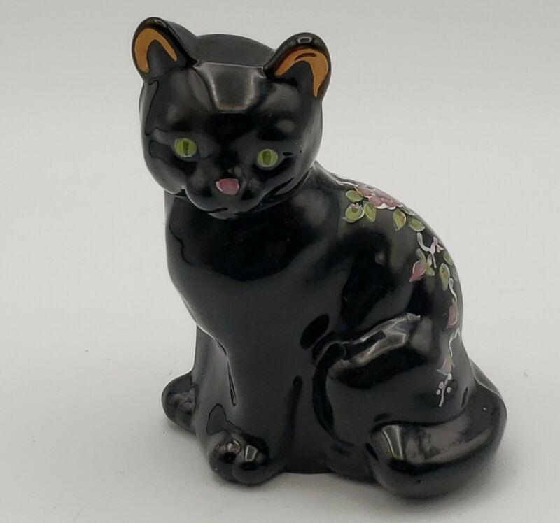 Fenton Copper Rose on Black Cat  Hand Painted 1989 Artist Signed Original Labels