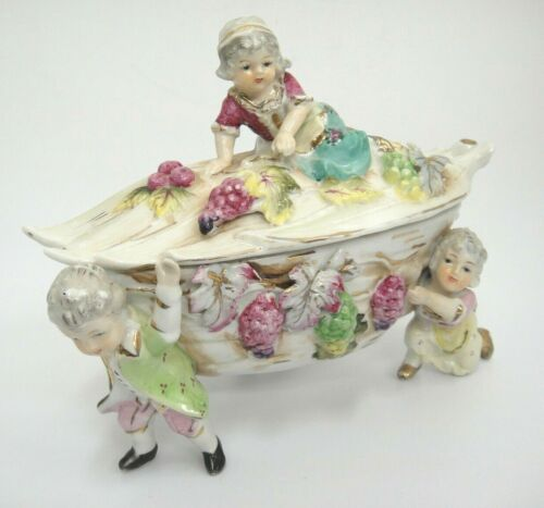 Antique Victorian Classical Grape Dish Gentlemen Carrying Bowl with Figural Lady