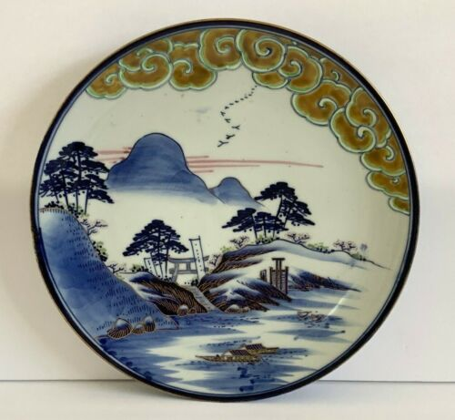 "Fine Antique Japanese Meiji Fukagawa Porcelain Landscape Scene 10"" Plate"