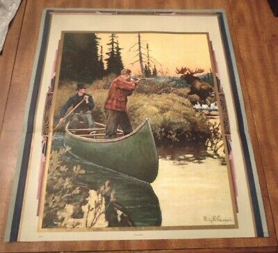 """Vintage 1940s Philip R Goodwin *Surprised* Moose Hunting Print LARGE 21""""x24"""""""