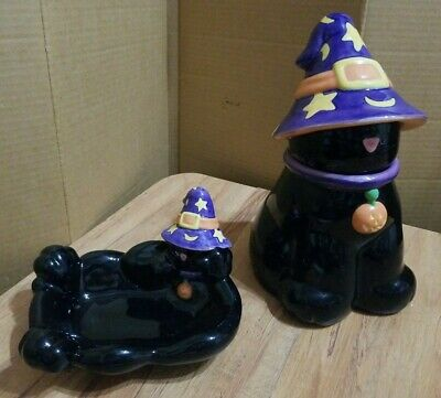 Harry and David Ceramic black Cat Cookie Jar & matching Candy Dish Halloween