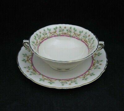 Syracuse China PENDLETON Cream Soup Bowl Set(s) Pink Laurel Stars Scroll Leaves
