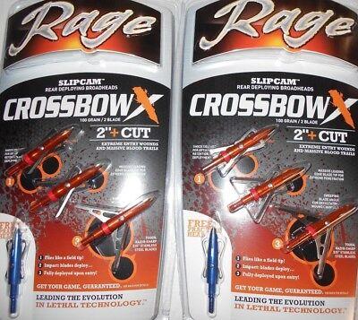 "@NEW@ 2 Rage Crossbow X Broadheads! 2"" Cut/100 Grain/Expandable #53000 crossbowX"