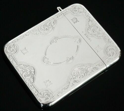 Antique Sterling Silver Card Case, Jehoiada Alsop Rhodes, Sheffield 1875