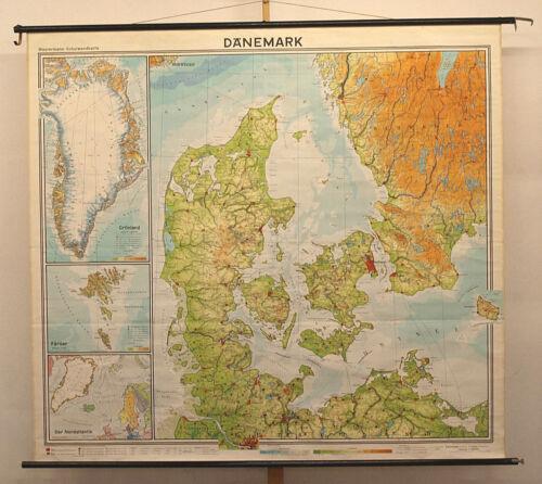Schulwandkarte School Wall Map Denmark Dk 82 11/16x75 3/16in Top 1964