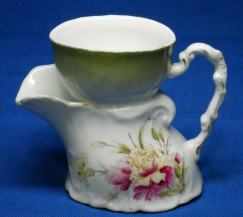 Early RS Prussia, Scuttle mug, Hand painted, 3 hole, 3 piece mold.