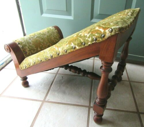 ANTIQUE ENGLISH MAHOGANY GOUT Foot Stool Ottoman Wood UPHOLSTERED VICTORIAN