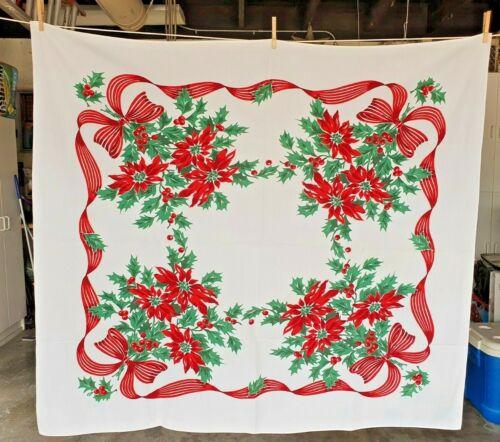 "VTG CHRISTMAS TABLECLOTH RIBBON BORDER BOW W/ HOLLY & POINSETTAS  -  50"" X 53"""