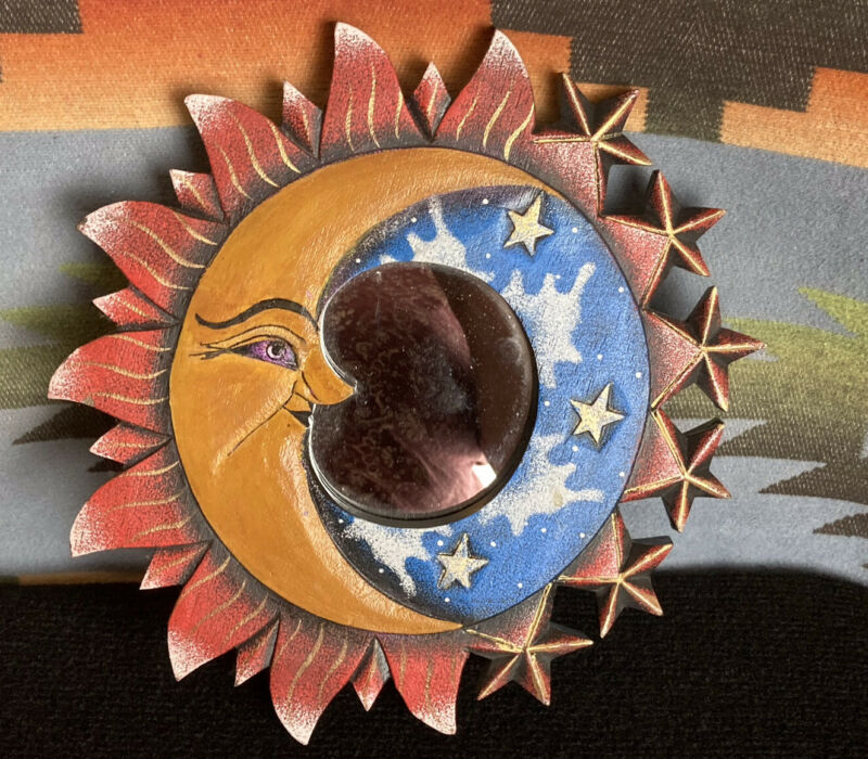 """Hand Carved Handpainted Wooden Framed Mirror Sun Moon Stars 11"""" Made Indonesia"""