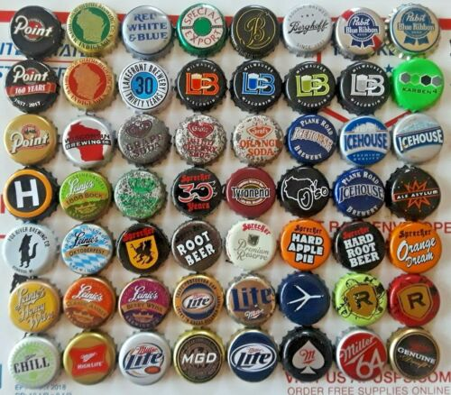 56 different WISCONSIN Bottle Caps crowns - BEER and SODA  (Grafs) mixed LOT W3