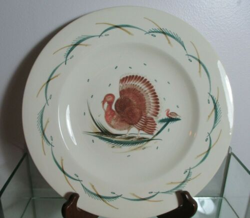 "Vintage Susie Cooper Dinner Plate 10.5"" Turkey on Ivory with Green Accents"
